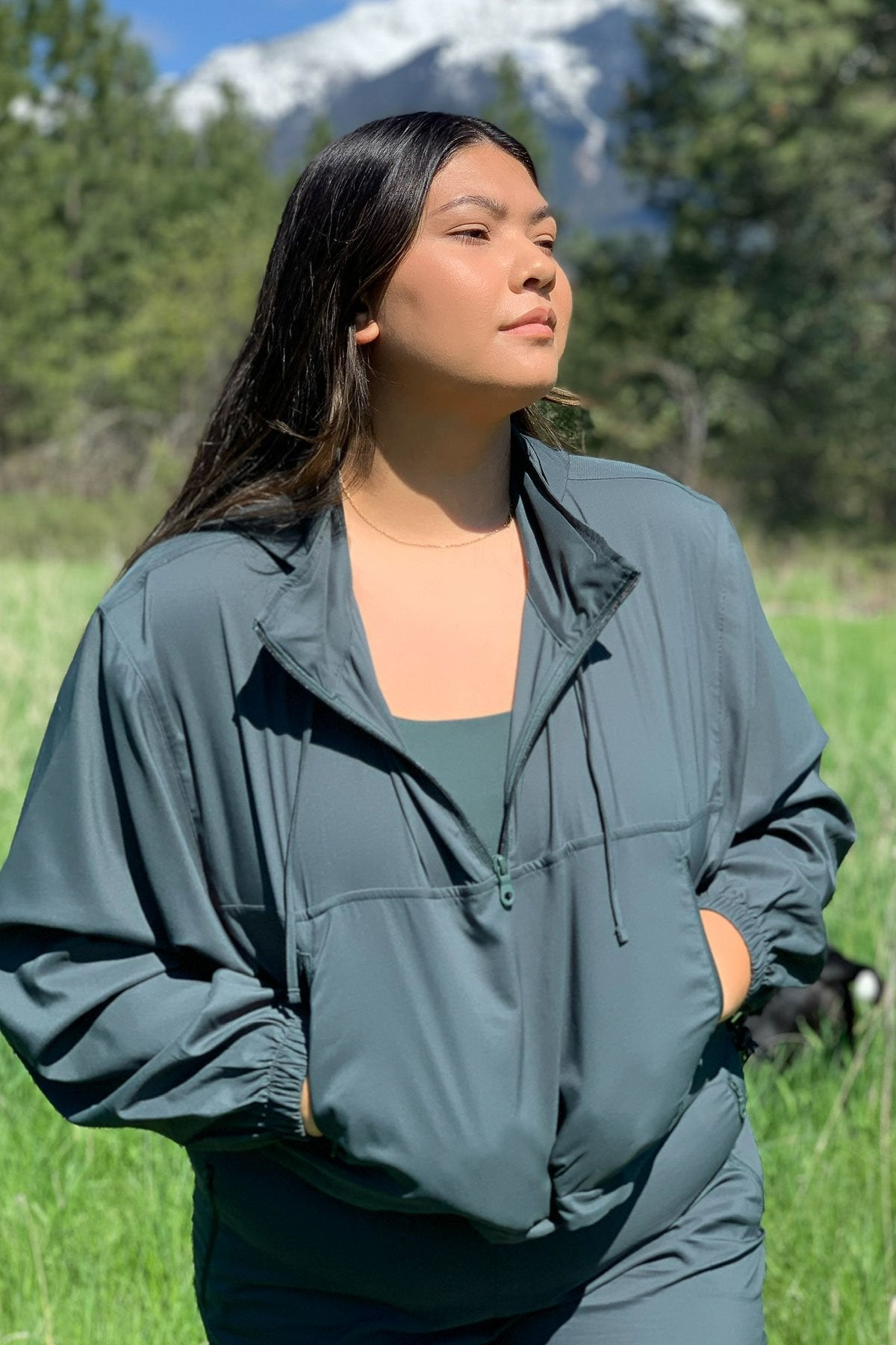Moss Hummingbird Half Zip Windbreaker