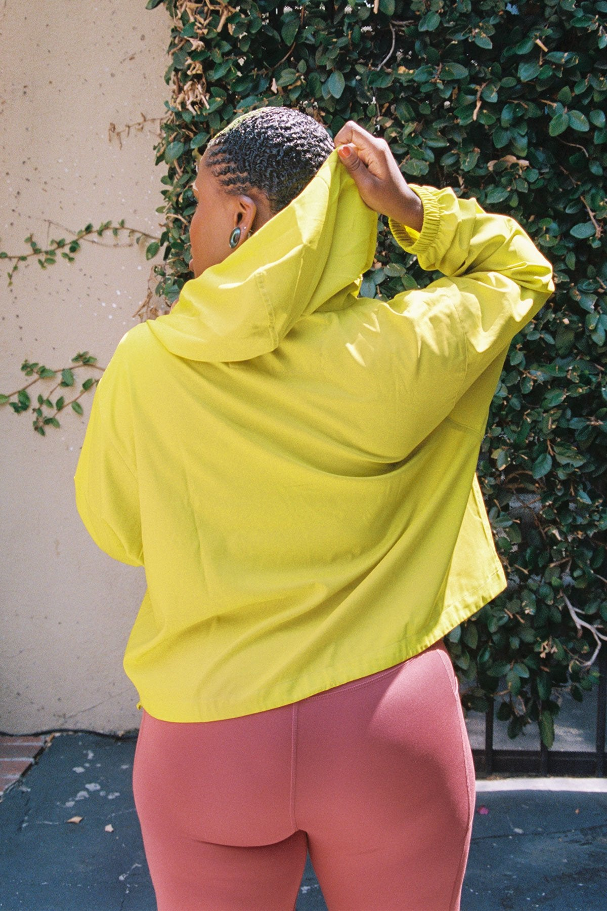 Chartreuse Hummingbird Half Zip Windbreaker