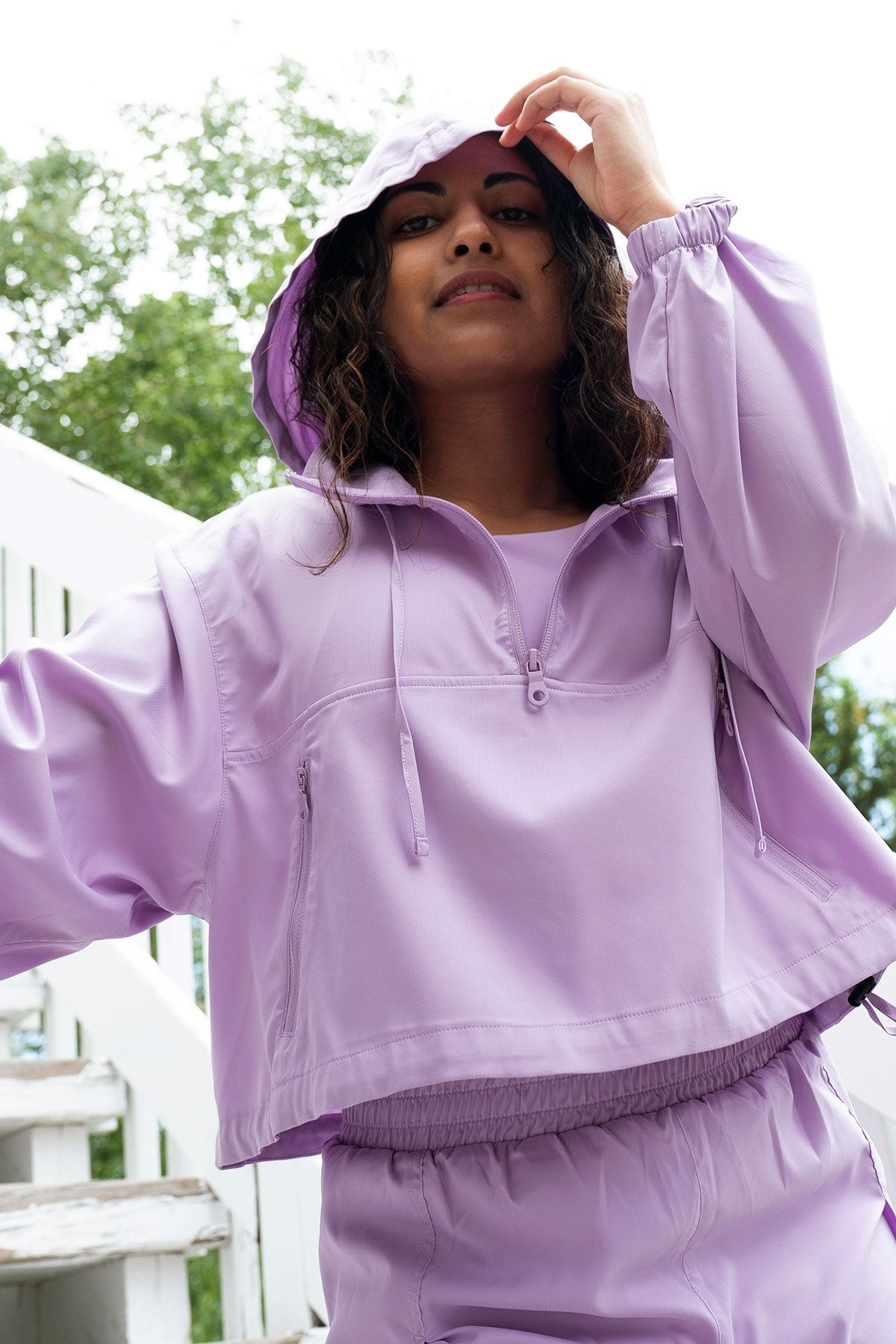 Lilac Hummingbird Half Zip Windbreaker