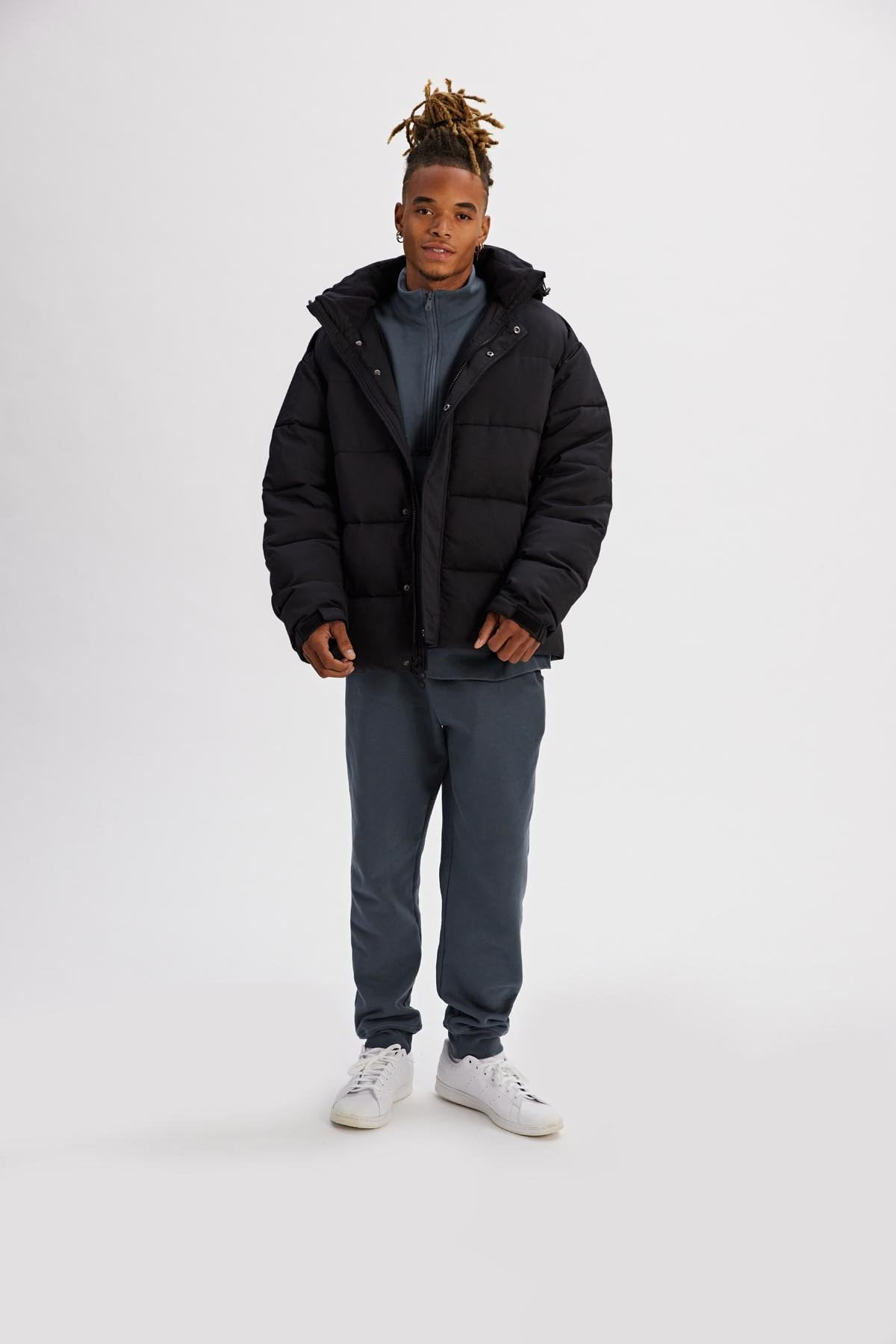 Black Relaxed Fit Recycled Puffer