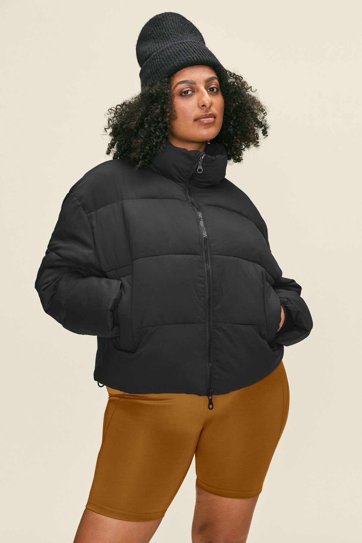 Black Cropped Recycled Puffer