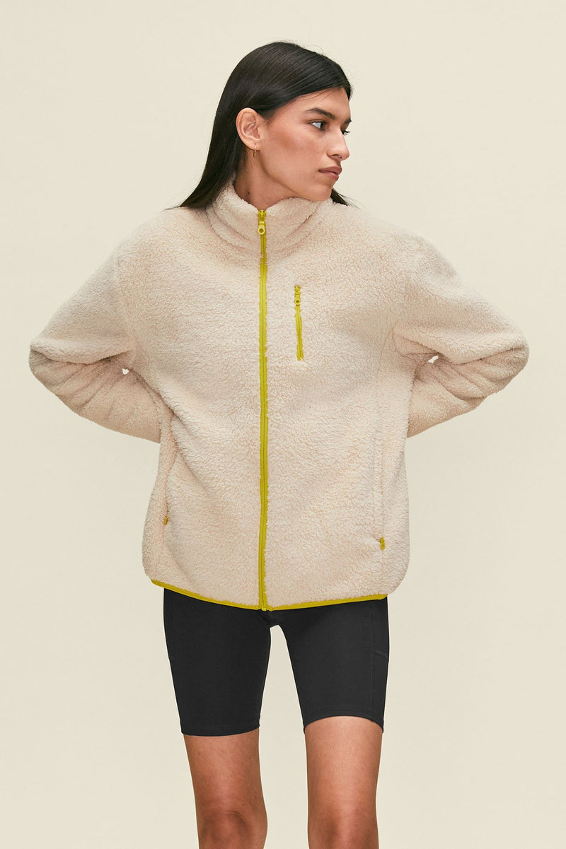 Cream Full-Zip Fleece