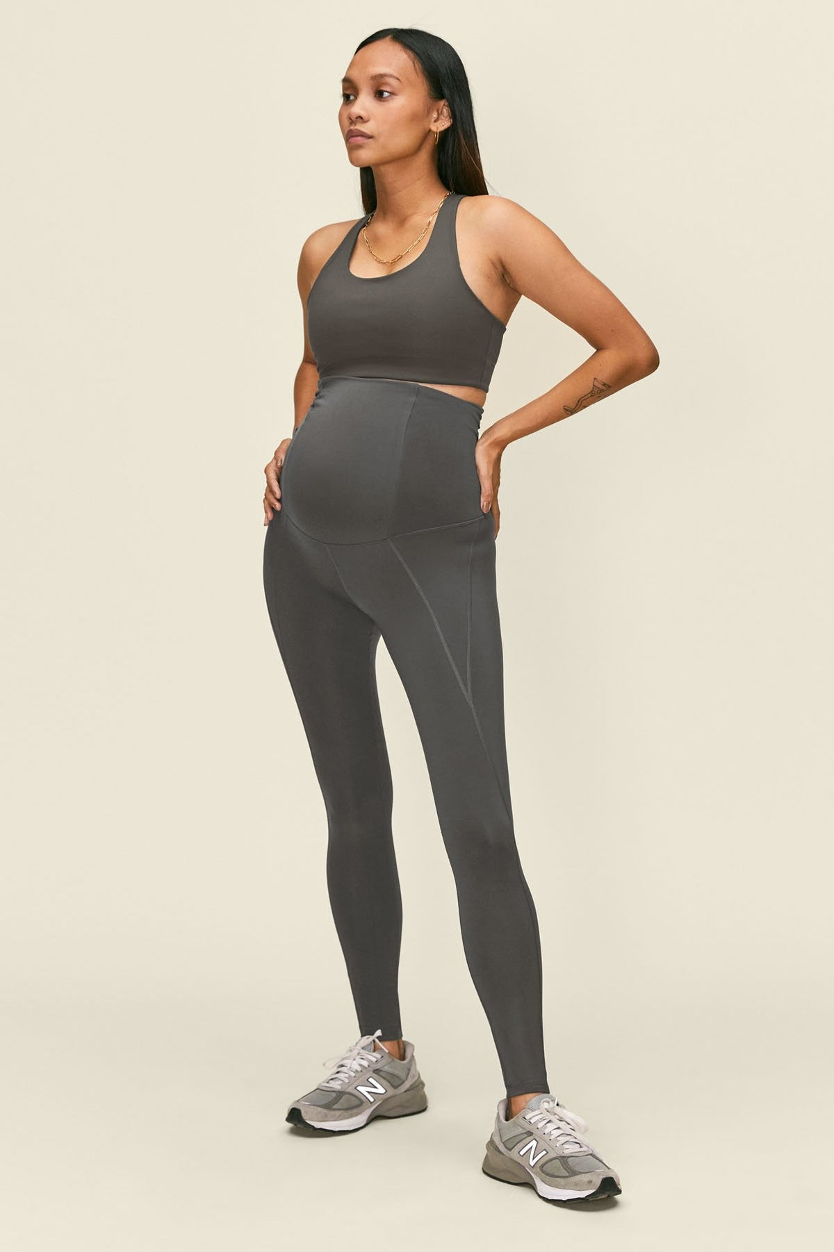 Girlfriend Collective Smoke Maternity Legging In Gray
