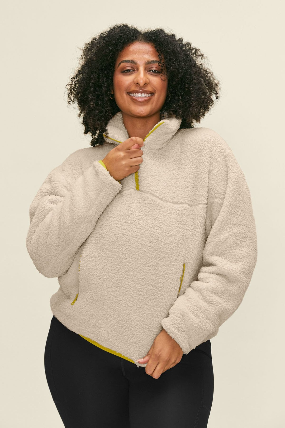 Cream Half-Zip Fleece