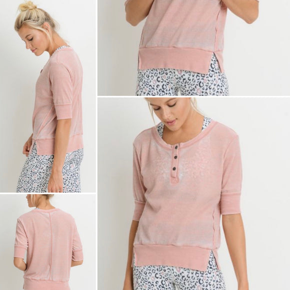 Dusty Rose 3/4 Sleeve Knit Top