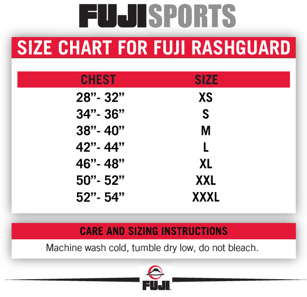 Fuji Rash Guard Size Chart