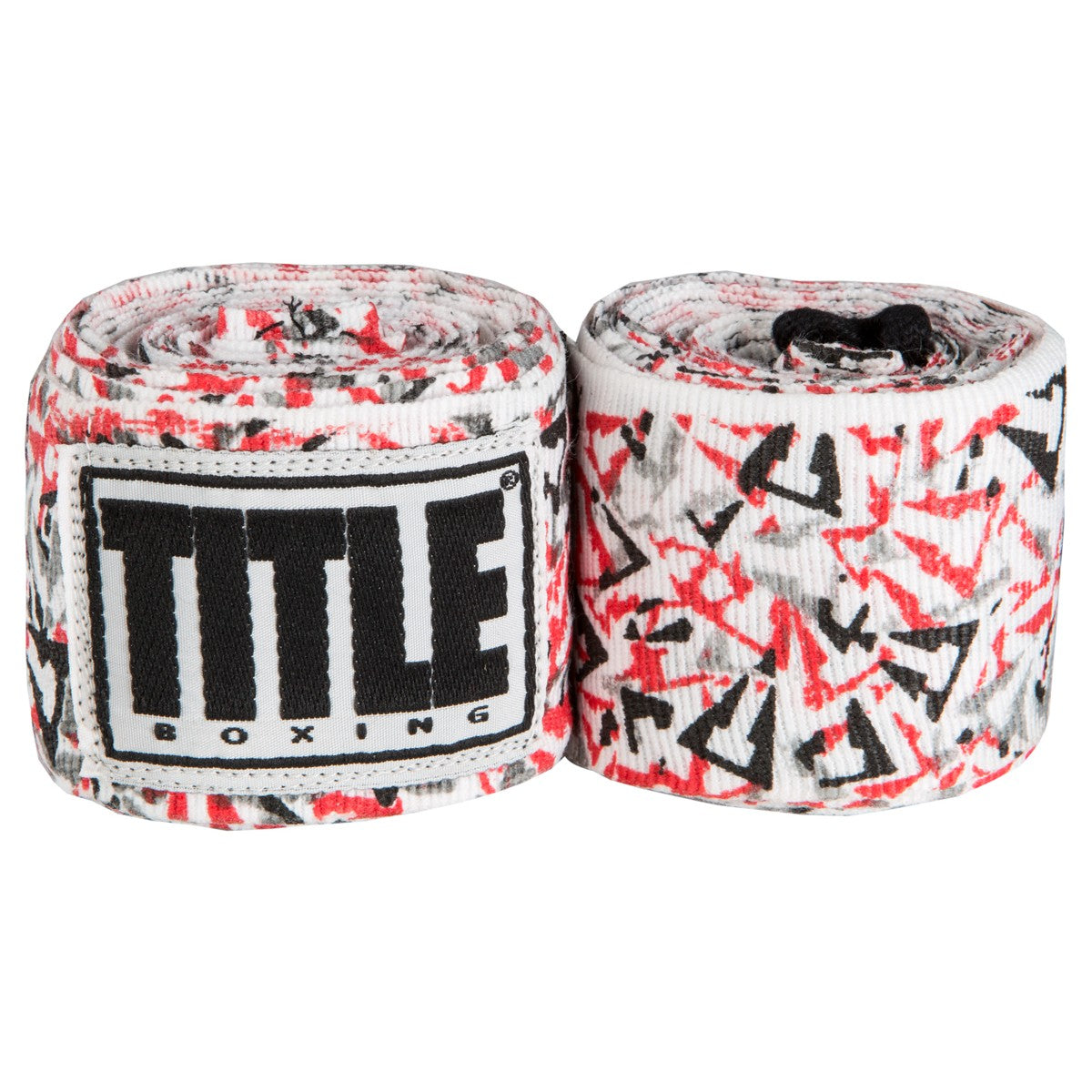 Boxing/Muay Thai Scramble T Hand Wraps-  Black/Red triangles