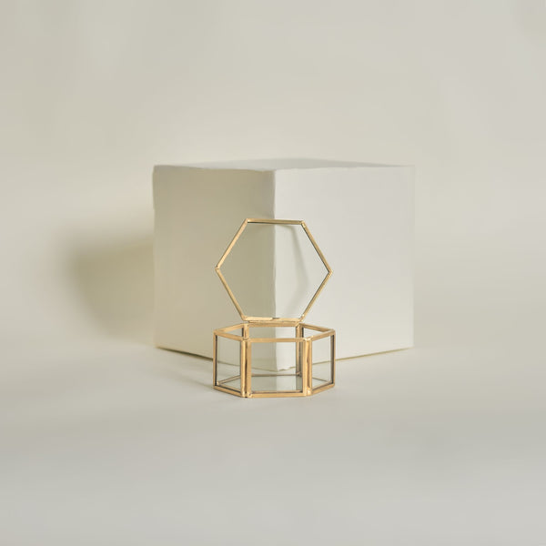 Gold Hex Ring Box