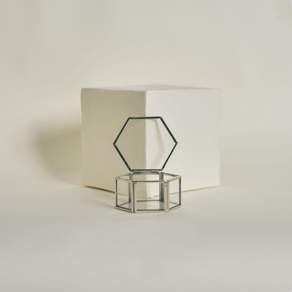 Silver Hex Ring Box