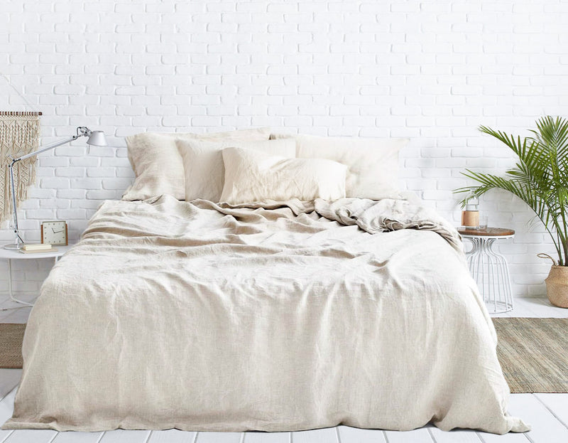 oatmeal natural linen bed sheets India
