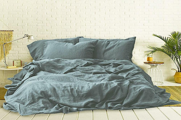 Lake blue linen duvet cover online India