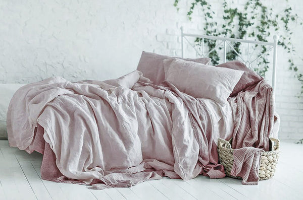 blush linen bed sheets
