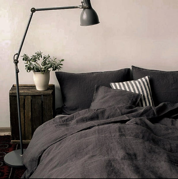 Dark grey linen duvet cover india