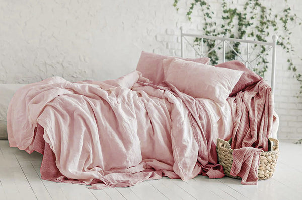Stone washed linen rose bed sheets, pink bedding sets