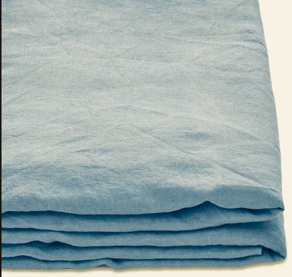 Lake blue linen blanket cover India