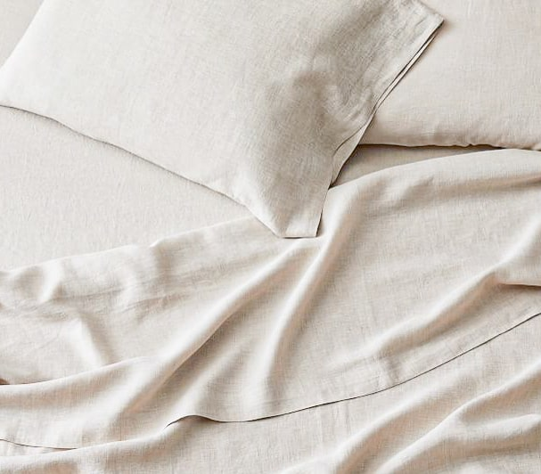 oatmeal coloured natural linen bed sheets India