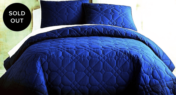 THE GLOBALIST - COBALT QUILT WITH 2 SHAMS