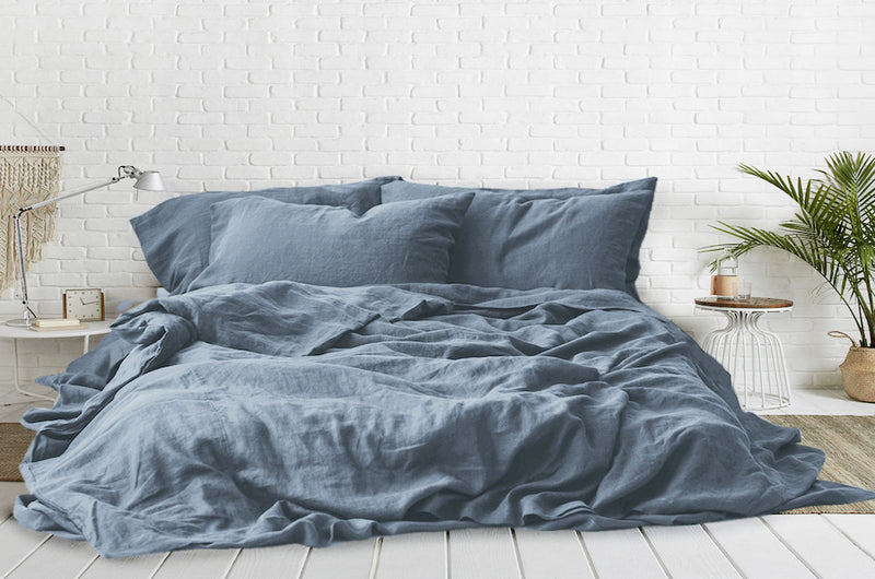 LAKE BLUE - 100% PURE FRENCH LINEN BEDSHEET