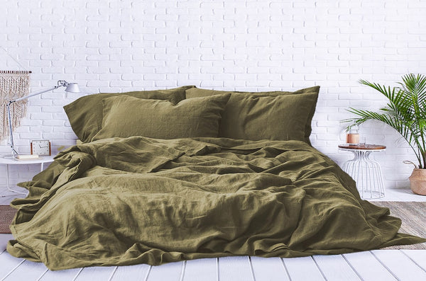 olive green bed sheets, moss green bedding set