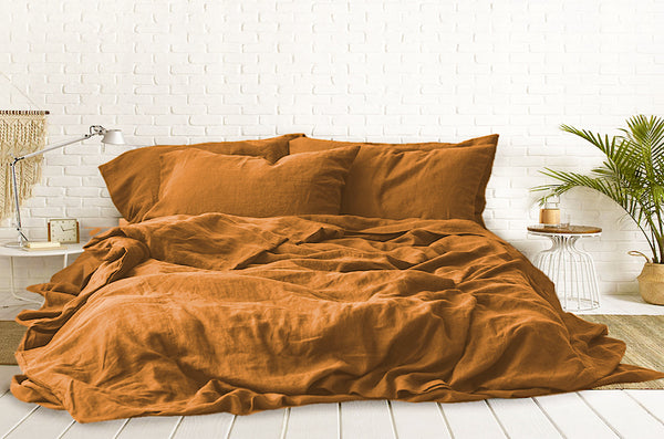 Terracotta Bed Sheets, Terracotta Linen Bed Sheets