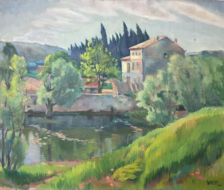 French Home by a Pond  C. 1935-39
