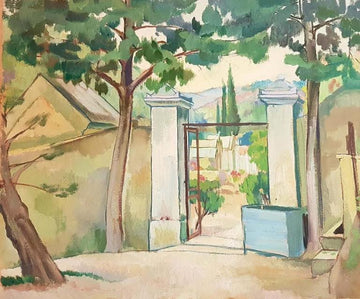 Gateway Flanked by Trees  C. 1935-39