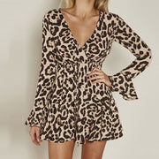Fashion Sexy V Neck Leopard Bell Sleeve Dress