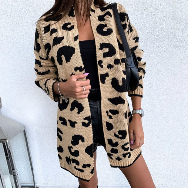 Casual Leopard Printed Colour Long Sleeve Sweater