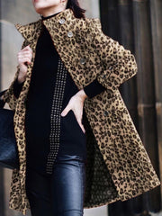 Womens Classic Leopard Print Collar Button Down Coat