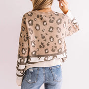 Women's Casual Long Sleeve Round Neck Printed Color Sweater