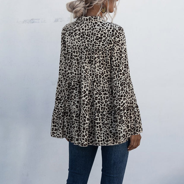 Fashion Leopard Print V-neck Bell Sleeve Loose Blouse