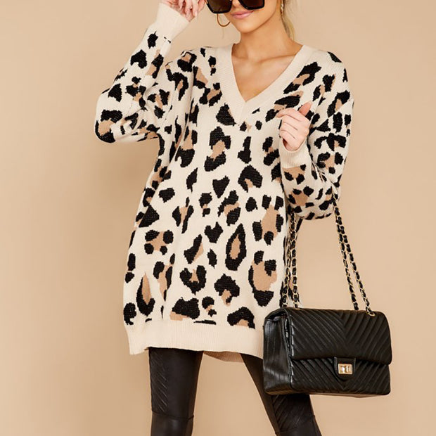 Women's fashion solid color leopard sweater