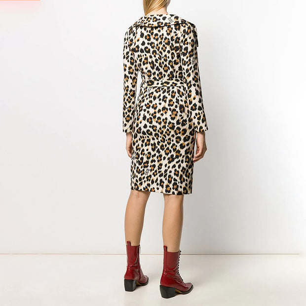 Women's personality fashion collar leopard skirt