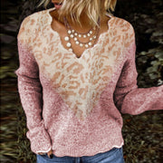 Ladies fashion sweet V-neck stitching leopard sweater