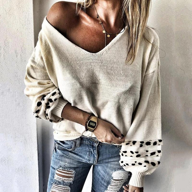 Women's Casual Loose V-Neck Puff Sleeve Knit