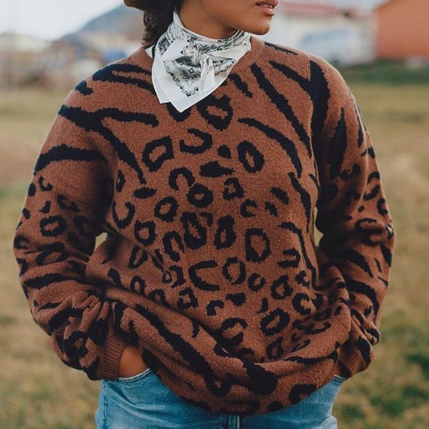 Fashion Printed Round Collar Knitted Sweater