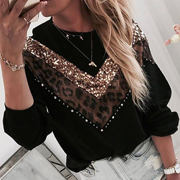 Fashion Women Loose Sequin Leopard Patchwork Sweatshirt