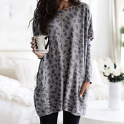 Fashion Leopard Mid-length Long Sleeve T-shirt