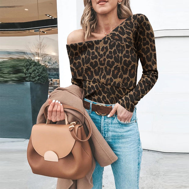 Casual Off Shoulder Leopard Print Long Sleeve Sweater