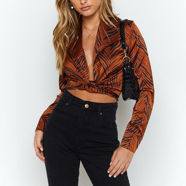 Fashion Loose Printed Color Long Sleeve Belted Short Blouse