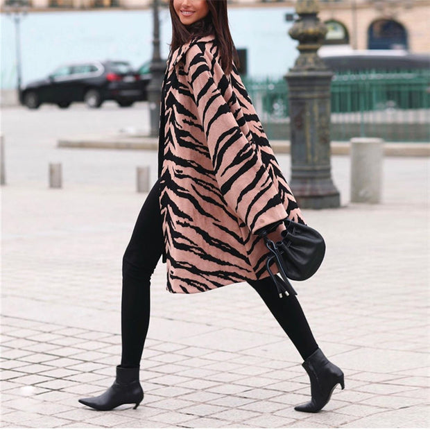 Fashion Lapel Animal Print Coat