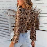 Women's Fashion Long Sleeve Square-cut Collar Snakeskin Slim Short Blouse