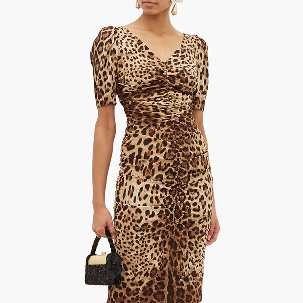 Fashion Leopard V Neck Short Sleeve Dress