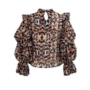 Fashion lace leopard stitching shirt