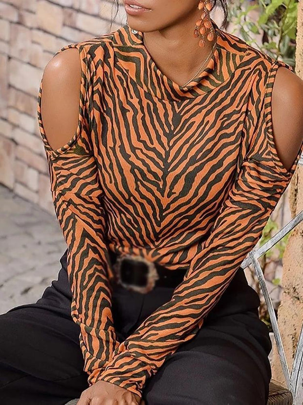 Women's Off-the-shoulder Animal Print Knit Top