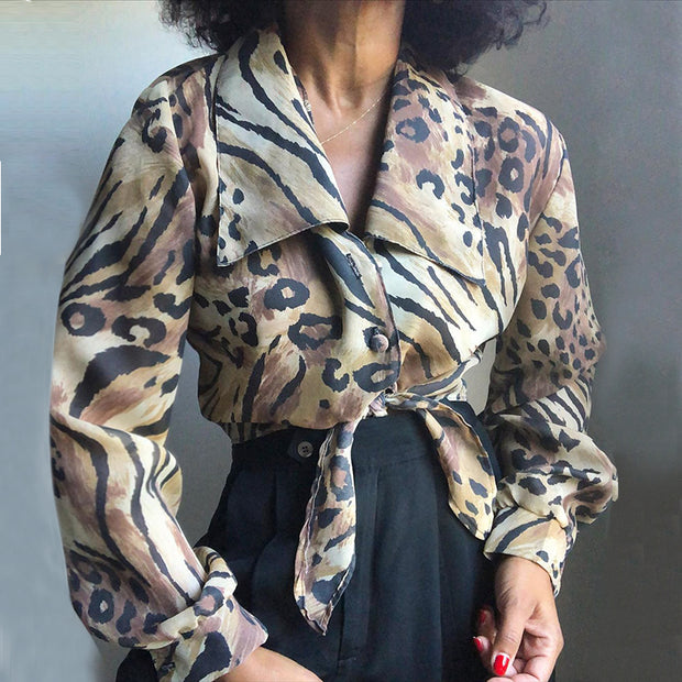 Women's fashion printed long-sleeved blouse