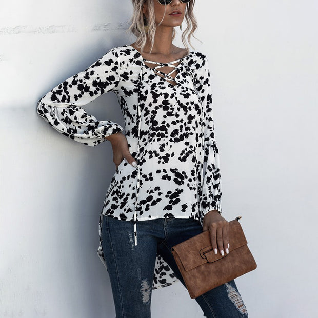 Irregular V-neck Cross Lace Up Printed Blouse