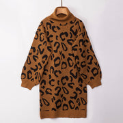 Women's Fashion Sexy Leopard Knit Sweater Dress