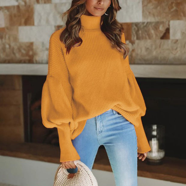 Women's Stylish Turtleneck Lantern Sleeve Knit Sweater