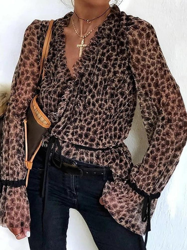 Casual v-neck long sleeve loose leopard print women's top